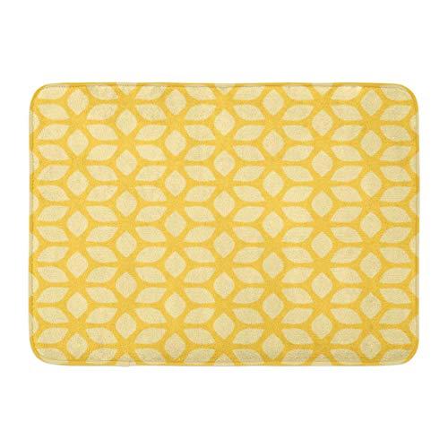 Emvency Doormats Bath Rugs Outdoor/Indoor Door Mat Beige Flowery Floral Geometric Yellow Pattern Colorful Home Bright Colored Bathroom Decor Rug Bath Mat 16