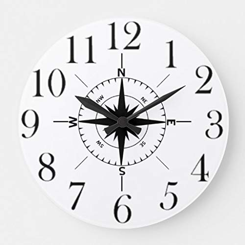 Moonluna Nautical Compass Wall Clock Non Ticking Decorative Wooden Clock Battery Operated for Bedroom 10 inches