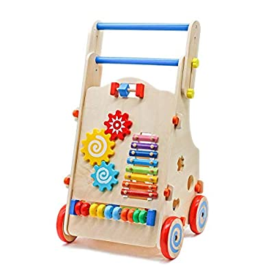 Wooden Baby Learning Walker Toddler Toys for Over 1 Year Old Forest Theme Blocks & Roll Cart Push Toy : Baby