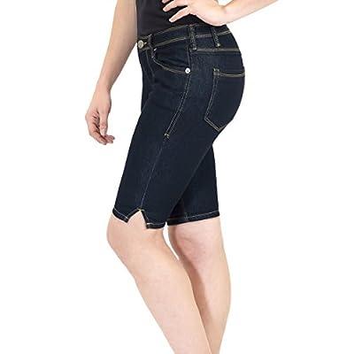 Hybrid & Company Women's 11.5 inch Inseam Stretchy Denim Bermuda Short at Women's Clothing store