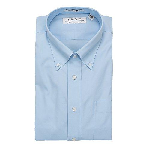 Enro Non-Iron Button Down Collar Solid Sky Blue Dress Shirt (17 34/35, Sky Blue)