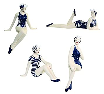 Retro Bathing Beauty Figurine 4pc Set 1920s Swim Suit Navy Shelf Sitters.