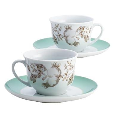 BonJour Dinnerware Fruitful Nectar Porcelain Teacup and Saucer Set
