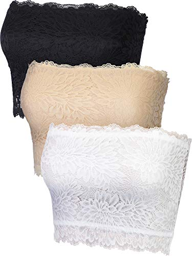 3 Pieces Lace Cami Strapless Bandeau Floral Lace Tube Top Stretchy Tank Camisole Bra (White, Skin Color, Black, S)