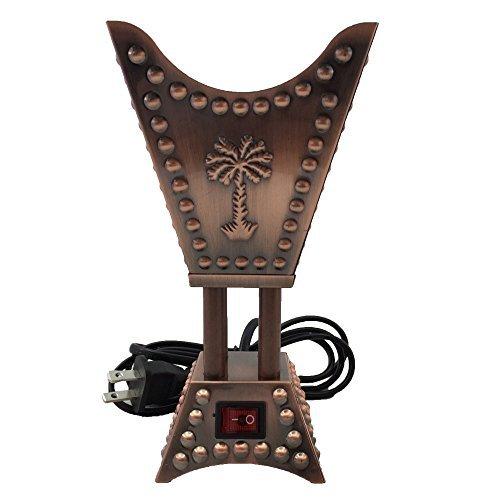 Square Metallic Arabian Motif Incense and Bakhoor, Electric Burner Small (Copper)