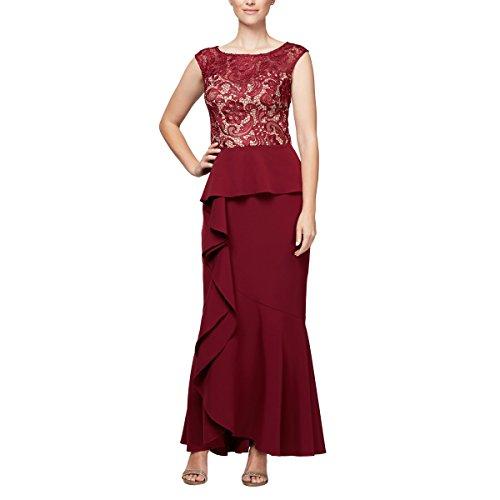 - Alex Evenings Women's Long A-Line Detailed Bodice Dress, Wine/Nude, 16