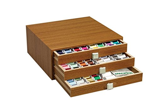 Embroidery Rayon Wt 40 Thread (Madeira Thread Chest - Canadian Maple Finish - Filled with 194 Spools Maderia 40 Wt Rayon Embroidery Thread)