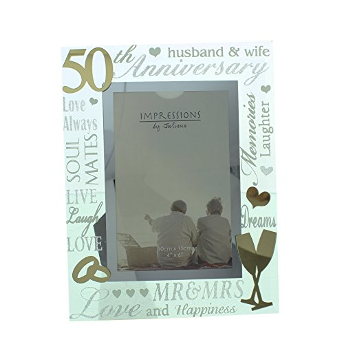 Oaktree Gifts 50th Anniversary Mirrored Photo Frame 4 x 6