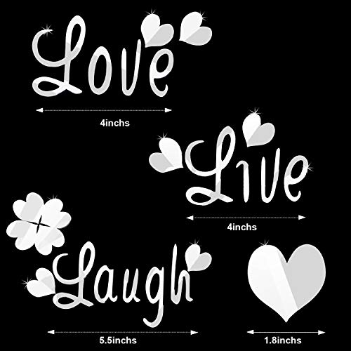 DIY Silver Love Live Laugh Heart Mirror Combination 3D Mirror Wall Stickers Home Decoration (Silver Love Live Laugh… 2