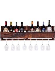 Del Hutson Designs The Olivia Wine Rack USA Handmade Reclaimed Wood Wall Mounted 8 Bottle 8 Long Stem Glass Holder Walnut
