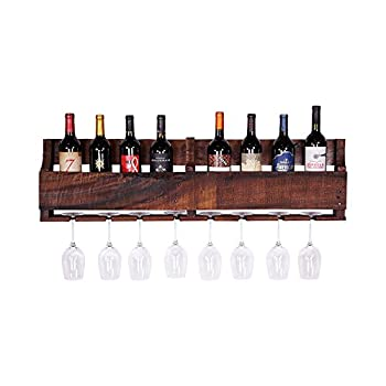 del Hutson Designs - The Olivia Wine Rack, USA Handmade Reclaimed Wood, Wall Mounted, 8 Bottle 8 Long Stem Glass Holder (Walnut)