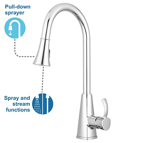 Bridgeport Pull Down Kitchen Faucet By Pacific Bay Chrome Features Multiple Spray Functions