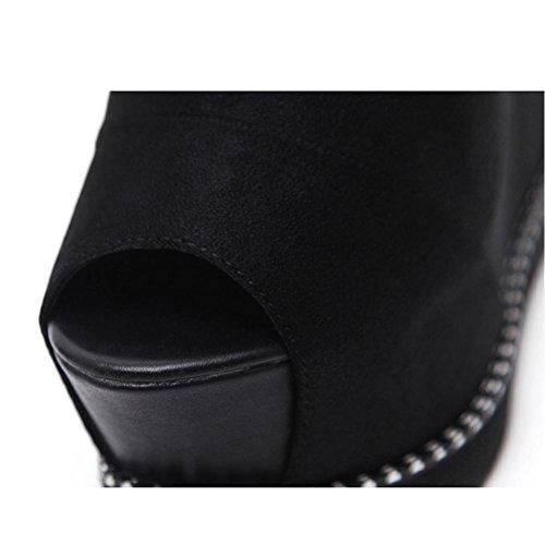 Femmes Chaussures Xie Chat De Banquet Arcs Mariage Talons Hasp Sandales Dentelle 34 Cravate Bouche Gypsophile Hauts Talon Shallow Pointu Ruban Gland Seules Strass fwPfrTZ