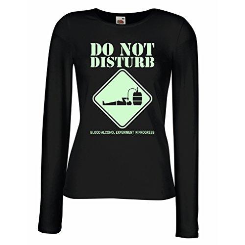 Camisetas de Manga Larga para Mujer Experimento del alcohol de la sangre en curso - diver tee shirts Negro Fluorescente
