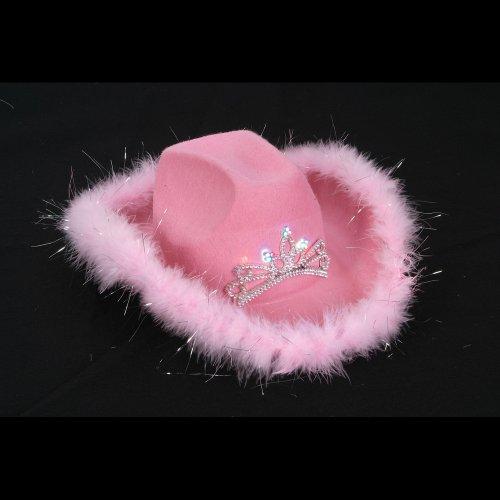 Pink Feather Flashing Tiara Cowboy