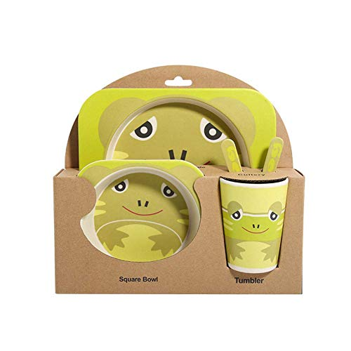 Kitchen Tea Set Porcelain Drinkware Set Saucers Children's Bamboo Fiber Cartoon Tableware Bowl 5-Pieces (Color : Frog) ()