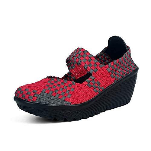 Qiusa Cuña talón Zapatos Mujeres Tejer Suave y Transpirable Entrenadores (Color : Rojo, tamaño : EU 40) Rojo