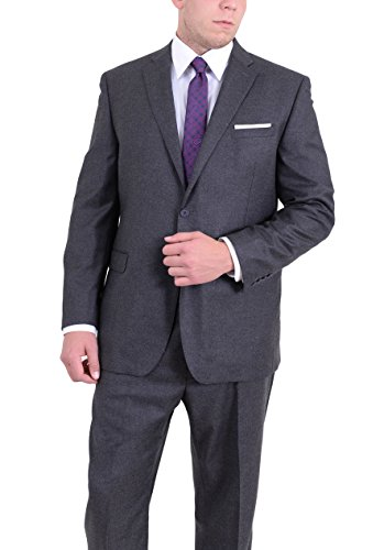 - Ital Uomo Regular Fit Charcoal Gray Two Button Flannel Wool Silk Blend Suit