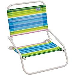 RIO Beach Wave 1-Position Beach Folding Sand Chair - Beach Club Stripes