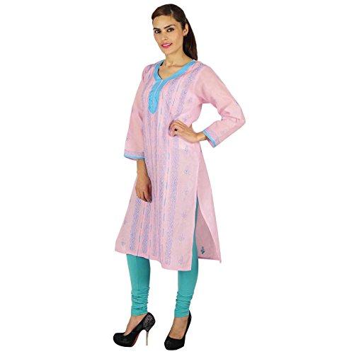 Indio bordado Chikan Bollywood regalo de las mujeres vestido étnico Kurti algodón para ella Rosa y Aqua Blue