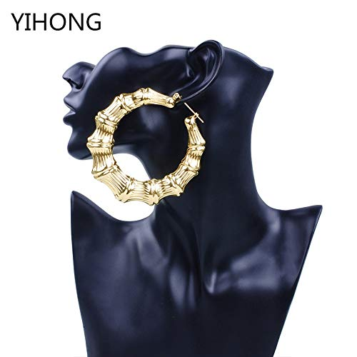 - Gold Iron Bamboo Large Basketball Earrings | for Fashionable Women