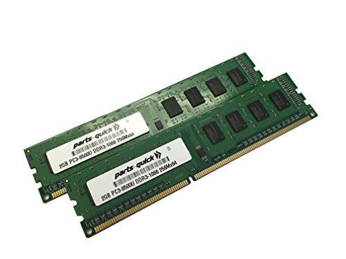 4GB 2X2GB DDR3 SDRAM Memory for Dell Inspiron 580 580s Desktop PC3-8500 1066MHz RAM 240 pin DIMM (PARTS-QUICK BRAND)