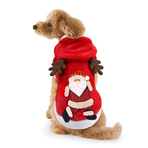 Idepet Dog Cat Christmas Outfit Coat Sweater Santa Claus Cartoon Reindeer Costume Soft Warm Coral Fleece Pet Hoodie Winter Party Dress Up Clothes Jumpsuit Apparel for Puppy (Outfits Dog Santa)