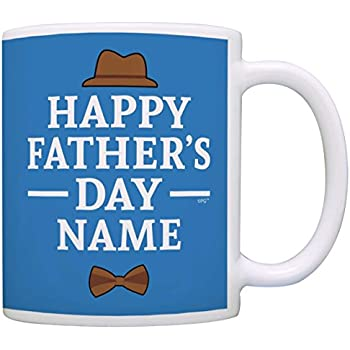 92dafd05 Personalized Fathers Day Gifts Happy Father's Day Add Name Custom Gift  Coffee Mug Tea Cup Blue