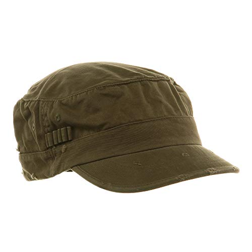 Washed Cotton Fitted Army Cap-Dark Olive - Cap Washed Army Cotton Fitted