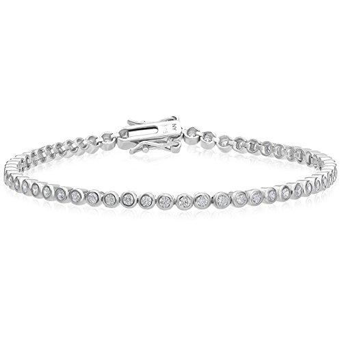 - Sterling Silver Bezel-set 2mm Cubic Zirconia Tennis Bracelet, 7.25''