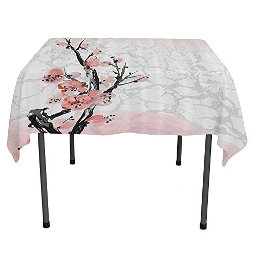 All of better Floral Dining Table Cover Japanese Cherry Blossom Sakura Tree Branch Soft Pastel Watercolor Print Coral Light Pink Grey Everyday Table Cloth Spring/Summer/Party/Picnic 54 by 54