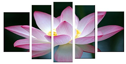 Startonight Glass Wall Art Acrylic Decor Pink Flower, and a Contemporary Clock Set of Set of 5 Total 35.43 X 70.87 Inch 100% Original Artwork the Ultimate Wall Art by Glass Wall Art