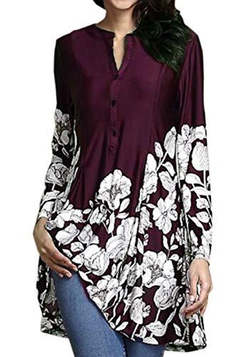 pissure New Longues Imprime Femmes Blouse Long Rouge Tunique Casual T Printemps Shirts Vin Tees Jumpers Automne Chemisiers Hauts Tops Manches vTvxPqw