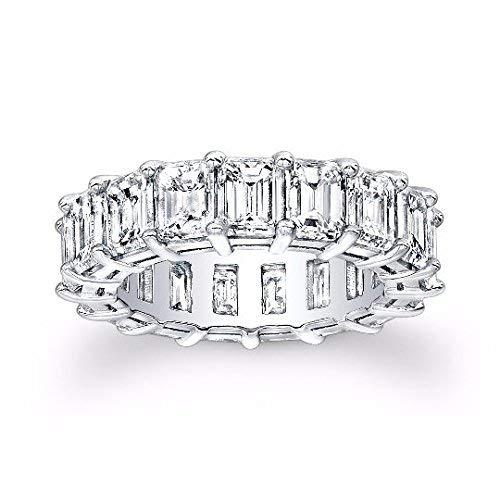Ladies 14kt white gold Emerald Cut diamond eternity wedding band 9.00 ctw G-VS2 diamond quality