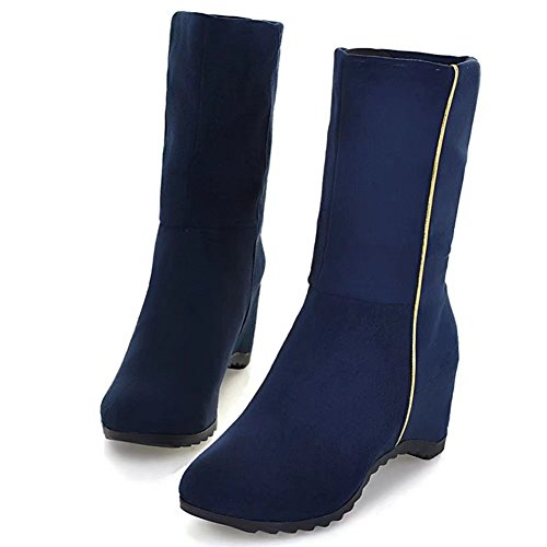KingRover Women's Hidden Wedge Casual Mid Calf Boots Blue PnajCzz