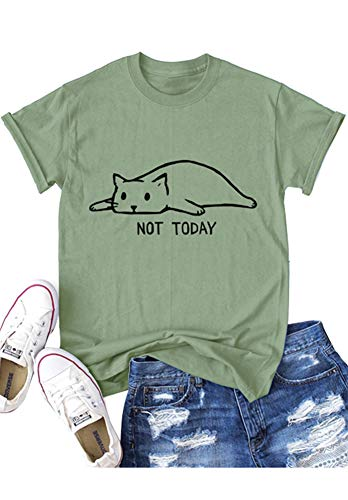 Plus Size Cute Cat Not Today Short Sleeve Tops for Girls Army Green - Top Cat Knit