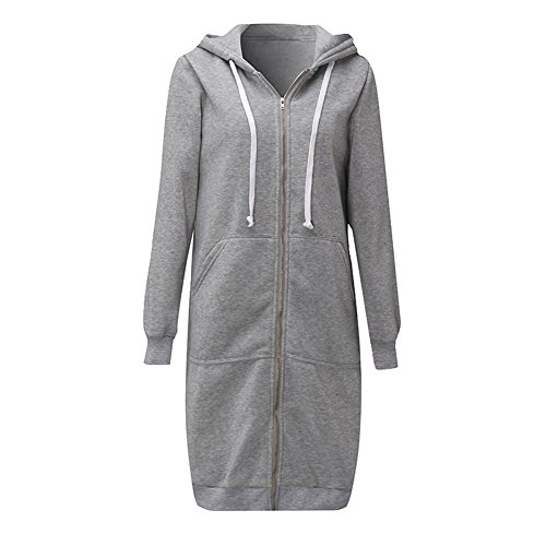 Romacci Women Zip up Hoodies Casual Pockets Tunic Sweatshirt Long Hoodie Outerwear Jacket Black/Grey /Army Green,S-5XL