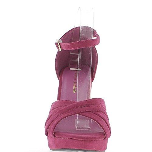 Sandals Grande Frau Größe Fushias Aspekt Wildleder 12cm Plattform Ferse