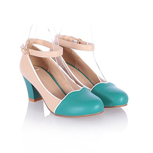 VogueZone009 Womens Closed Round Toe High Heel PU Soft Material Assorted Colors Pumps, Green, 7 B(M) US