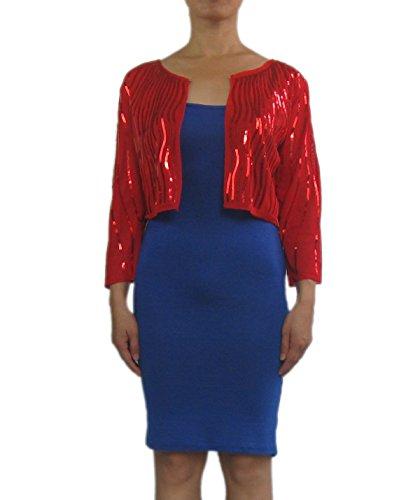Onstage Glitzy Sequin Bolero Wraps Shrugs Tops Jackets for Sleeveless Dress (Glitzy Red Sequin)