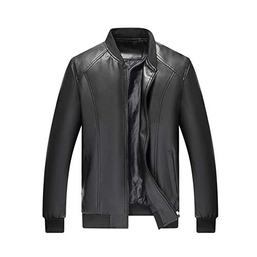 Men's Fashion Jackets, Autumn Winter Old Middle-Aged Classic PU Leather Jacket, Korean Version Baseball Uniform, Casual Zipped Slim Coat Outwear,Black,180/56 (Baseball 180)