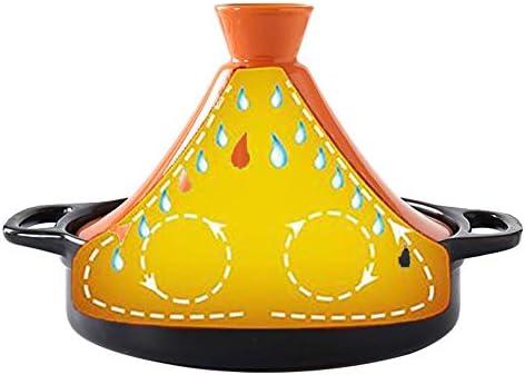 LIUSHI Marmite Marocaine à tajine avec Couvercle Casserole en céramique Vapeur Poêle à Frire Pot Saine Pot en faïence pour Cuisson Lente Orange 1,3 Quart