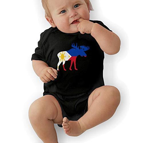 U88oi-8 Short Sleeve Cotton Bodysuit for Unisex Baby, Soft The Philippines Moose Sleepwear -
