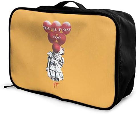 アレンジケース ペニーワイズ イット 旅行用トロリーバッグ 旅行用サブバッグ 軽量 ポータブル荷物バッグ 衣類収納ケース キャリーオンバッグ 旅行圧縮バッグ キャリーケース 固定 出張パッキング 大容量 トラベルバッグ ボストンバッグ