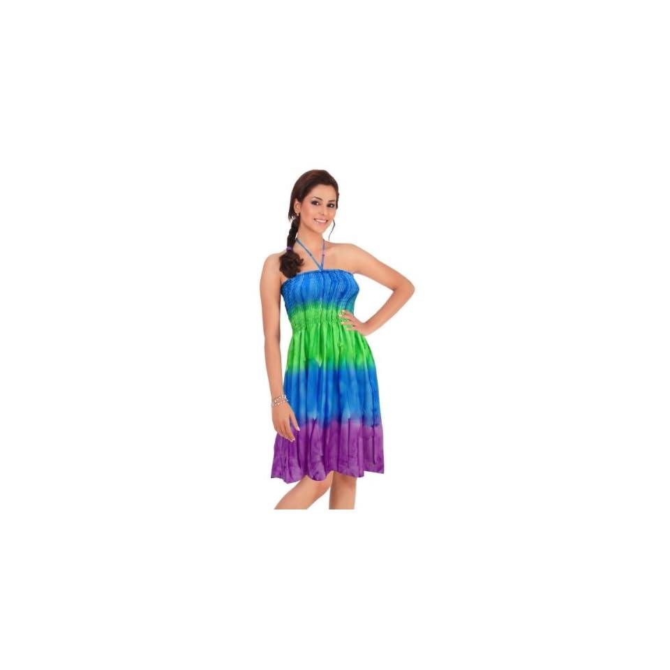 La Leela Multicolor Tie Dye Stripe Printed Short Halter Tube Dress