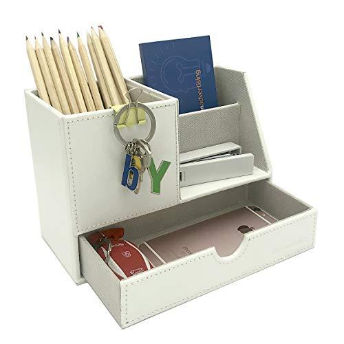 UnionBasic Desk Organizer w/ Small Drawer – Pen Holder Pencil Cup Desktop Organizer Card Holder, White