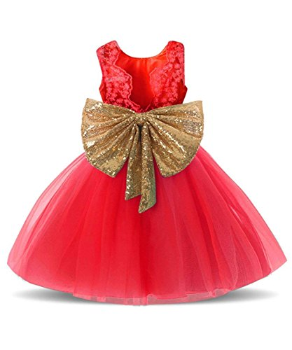 Price comparison product image Rizoo Toddler Girls Cute Sleeveless Summer Tutu Dresses with Sparkly Sequin Bow Belt Birthday Party Dress up (3T, Red)