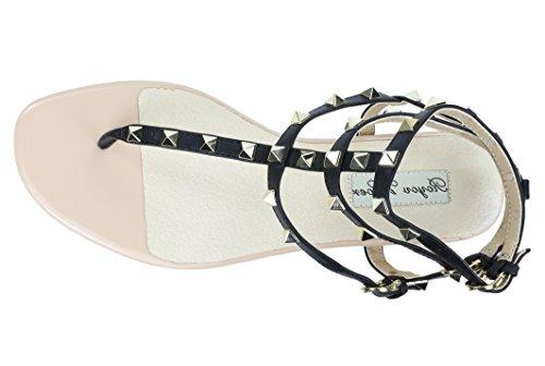 Royou Yiuoer Kvinders Læder Besat Sandaler T-rem Lejligheder Sandaler Sort y701sZHS