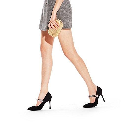 Fina Superficial Nan Tacones Elastic Rhinestone Boda Zapatos Negro Consejo Negro alto Altos Frosted con Mujer tacón Zapatos Fiesta Band de Cena de Trabajo wxqt7pO