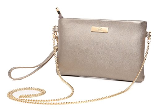 Aitbags Soft PU Leather Wristlet Clutch Crossbody Bag with Chain Strap Cell Phone Purse Bronze
